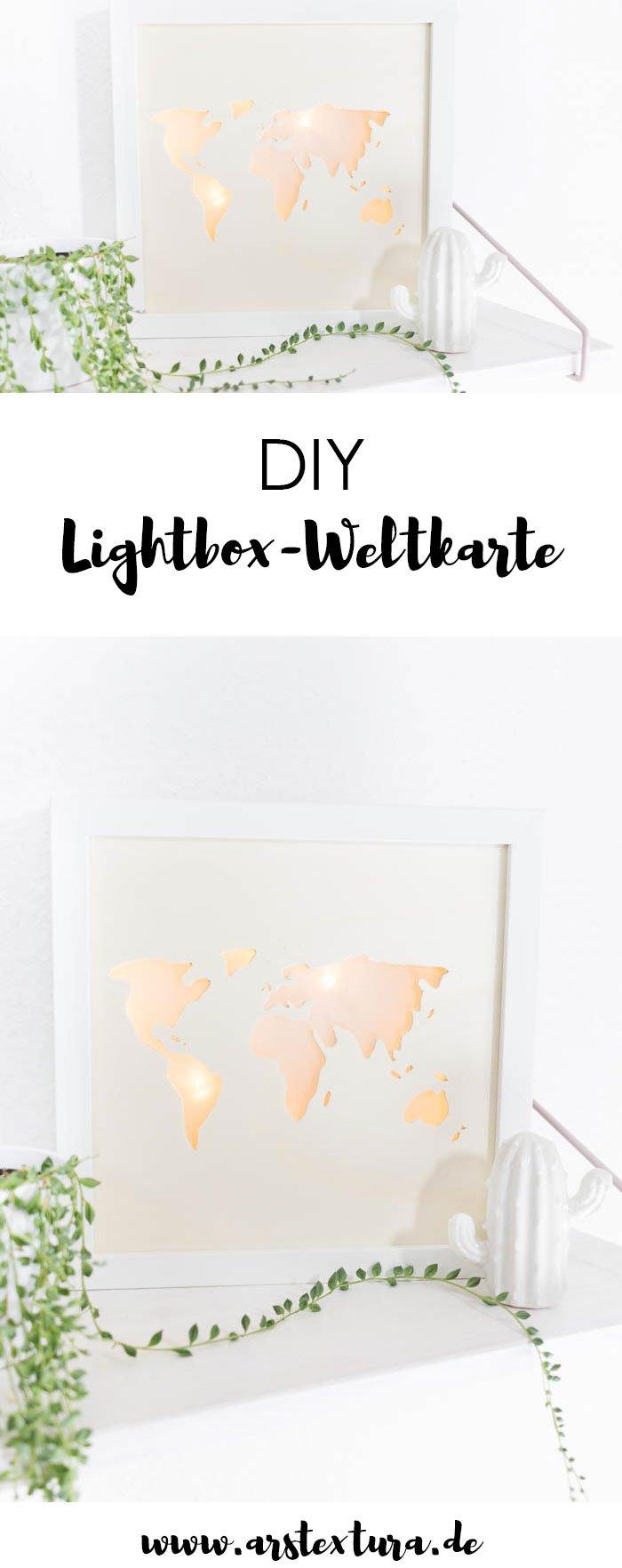 DIY Lightbox selber machen mit Weltkarte: ein tolles DIY Geschenk zur Hochzeit oder für alle Reise-Fans und Weltenbummler | ars textura - DIY Blog