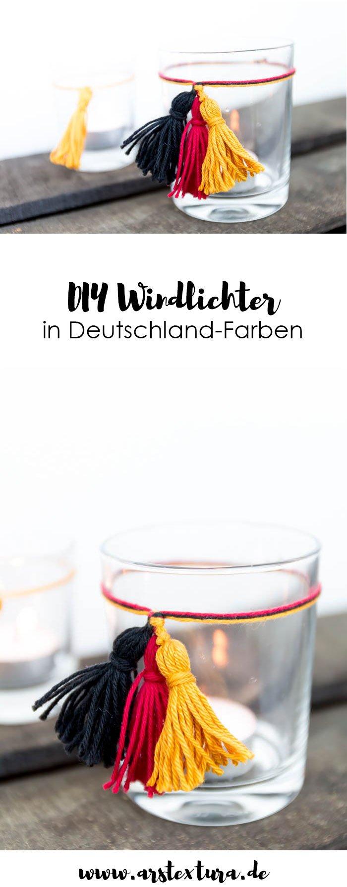 DIY Windlichter in Deutschlandfarben sind die perfekte Deko für deine WM-Party. Mit meiner Video-Anleitung kannst du sie ganz leicht basteln. | ars textura - DIY Blog