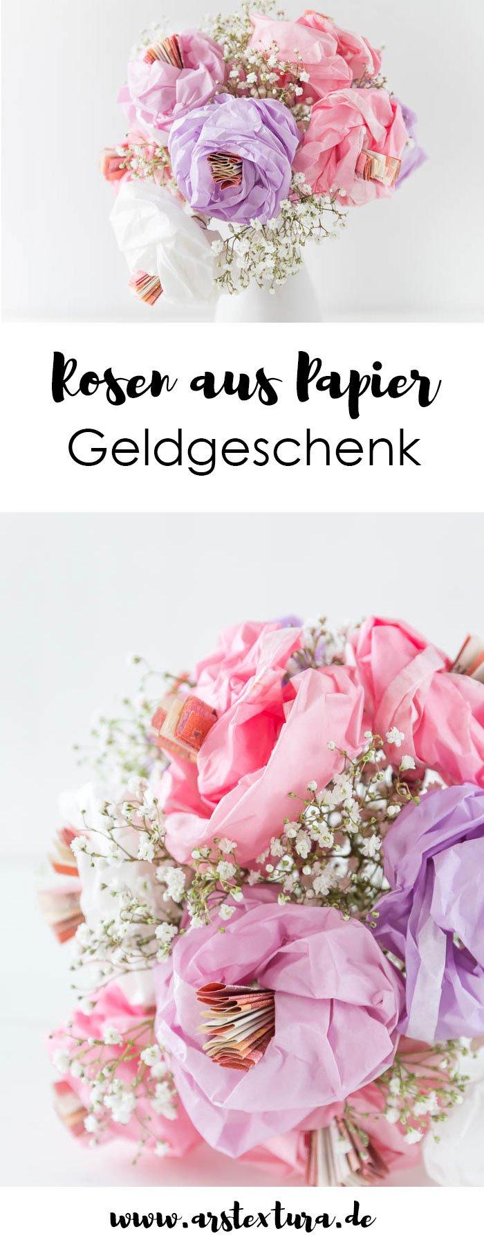 Geldgeschenk zur Hochzeit basteln - Geld verpacken als Blumen aus Papier und Geld - ein tolles DIY Geschenk zum Selbermachen - ars textura - DIY-Blog und DIY Ideen