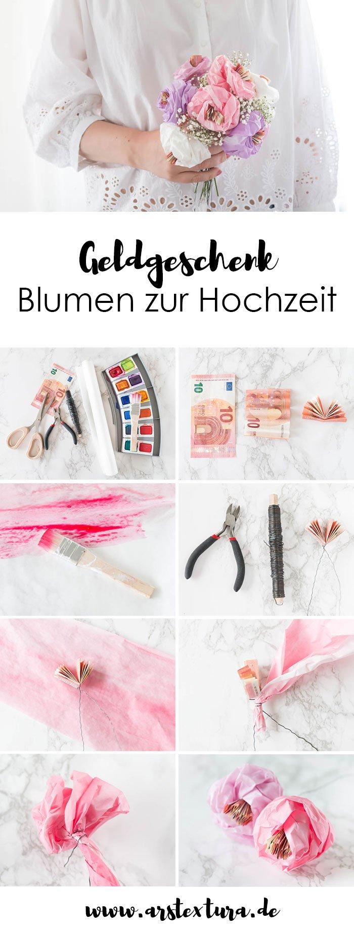 Geldgeschenk zur Hochzeit basteln – Blumen aus Papier selber machen | Geldgeschenk Hochzeit - ars textura - DIY-Blog und DIY Ideen