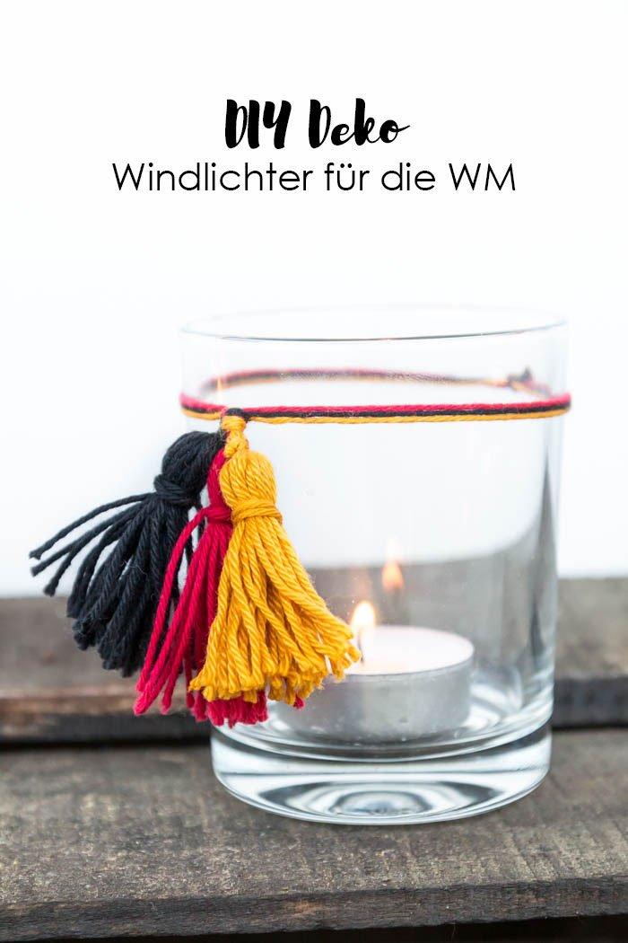 Windlichter in Deutschland Farben basteln - die perfekte DIY Deko für deine WM-Party - mit Quasten in schwarz - rot - gold kannst du schlichte Windlichter schnell verzieren | ars textura - DIY Blog