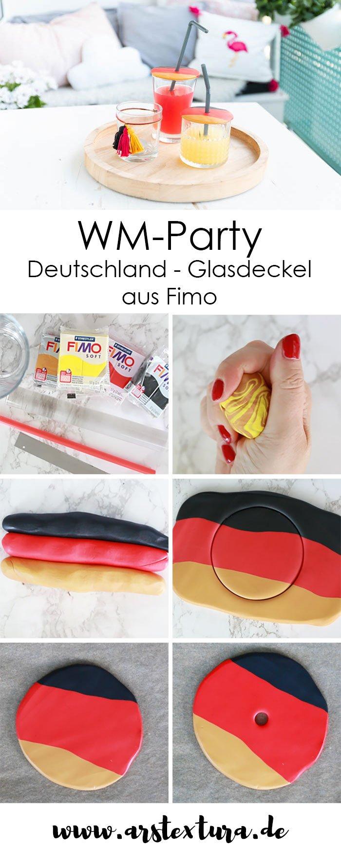 DIY Deutschland Glasdeckel in schwarz-rot-gold aus Fimo selber machen | der perfekte Insektenschutz für deine WM-Party | ars textura - DIY Blog
