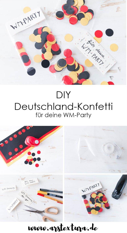 DIY Konfetti in Schwarz-Rot-Gold für deine WM-Party - Konfetti ist die perfekte Bastelidee und last-miaute Deko für deine Fußball Party | ars textura - DIY Blog