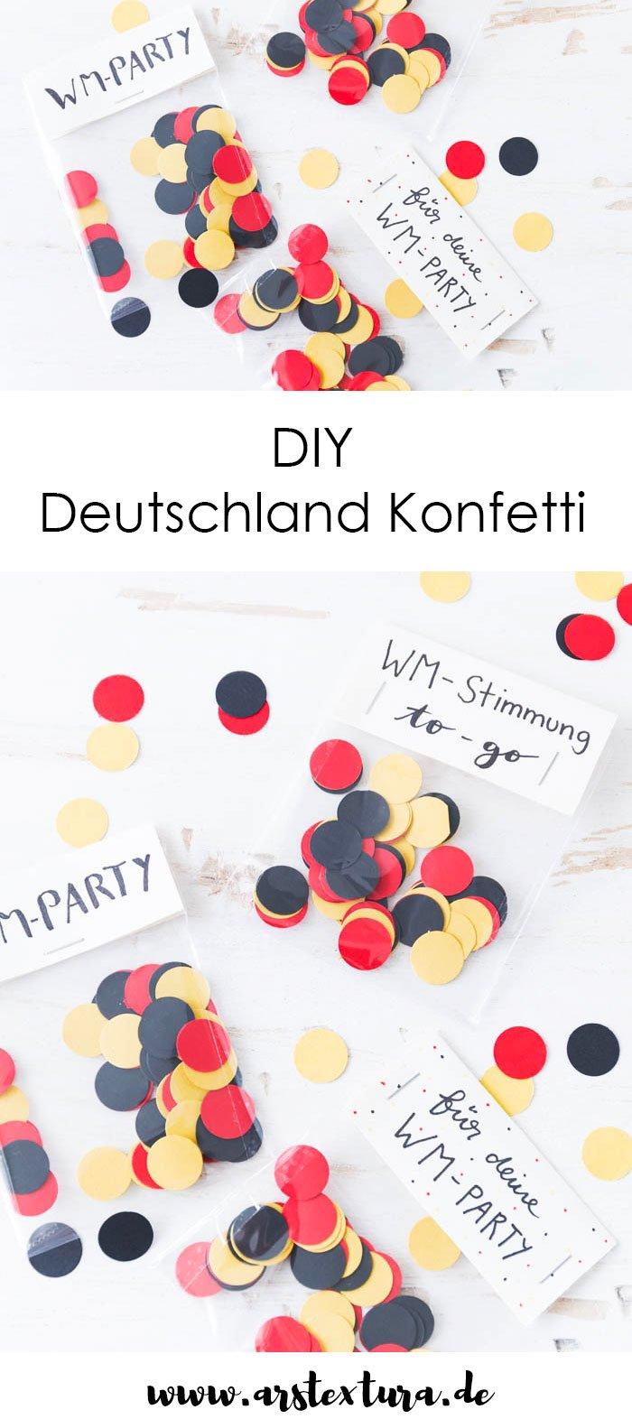 DIY Deutschland Konfetti in schwarz-rot-gold ist das perfekte Mitbringsel zu deiner WM-Party und eine tolle Bastelidee für deine Fußball-Party - so kann die WM kommen | ars textura - DIY-Blog