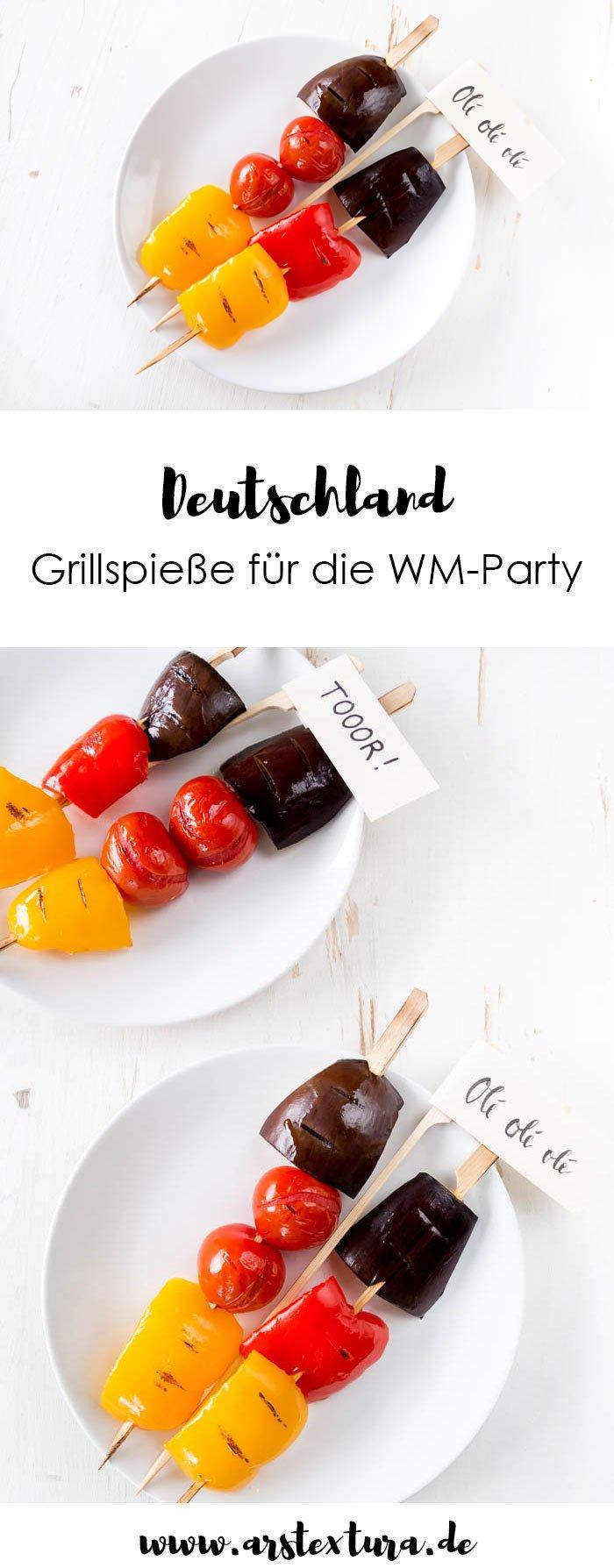 Leckere Grillspieße in Deutschland Farben sind die perfekte Deko nd der perfekte Snack für deine WM-Party | ars textura - DIY Blog