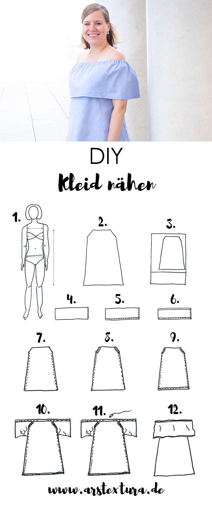 DIY einfaches schulterfreies Kleid nähen