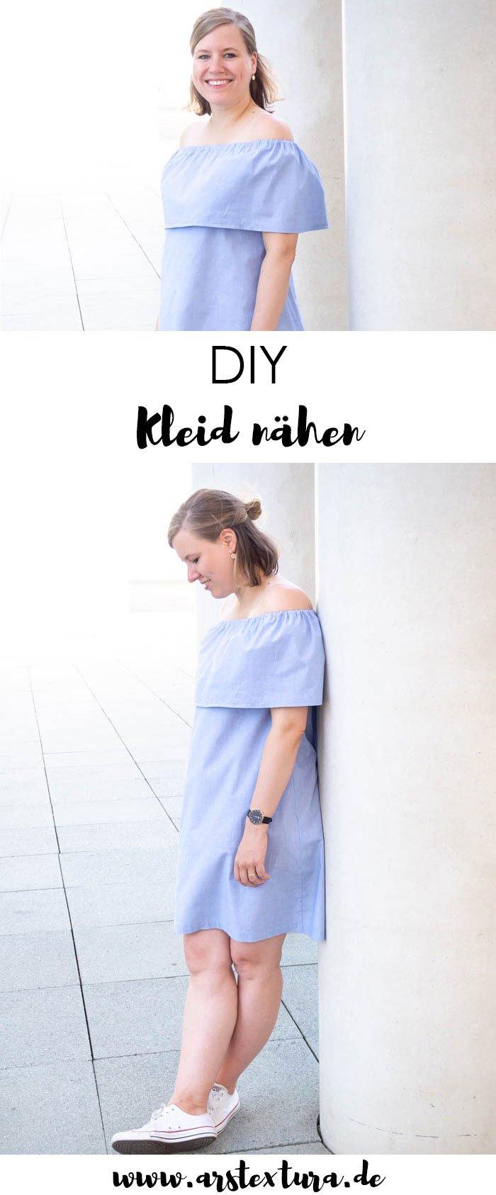 DIY schulterfreies Kleid nähen mit Anleitung