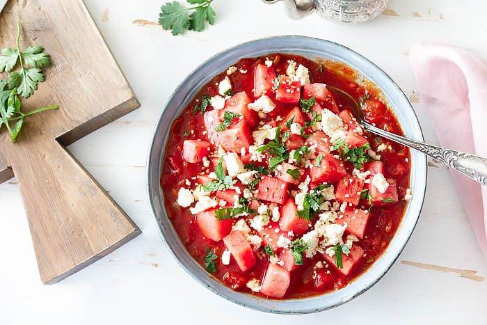 Gazpacho Rezept mit Melone und Feta