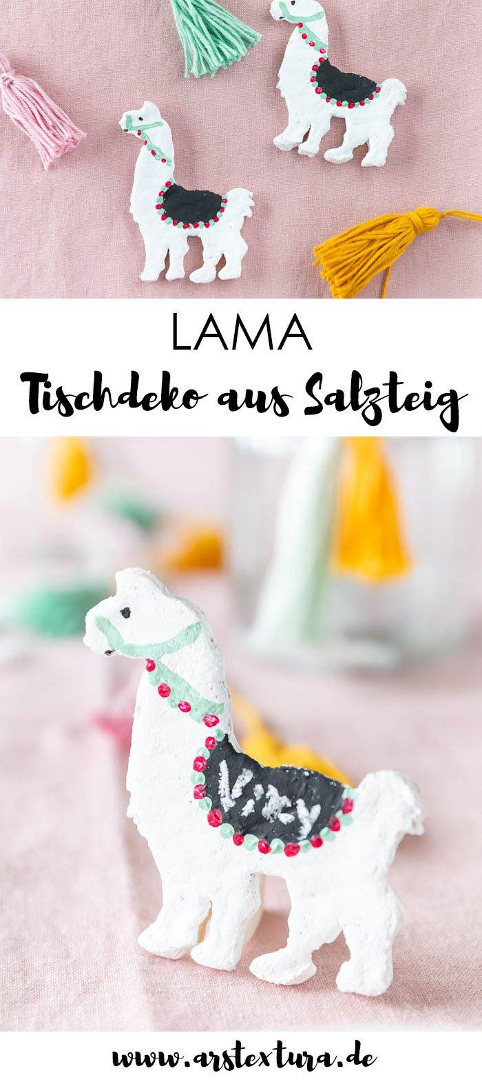 DIY Lama Tischdeko basteln mit Salzteig
