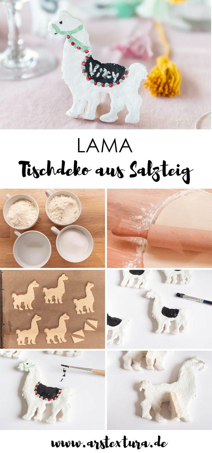 Lama oder Alpaka Tischdeko selber machen aus Salzteig