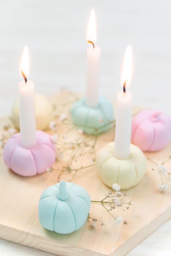 DIY Kerzenständer aus Fimo basteln - Herbstdeko selber machen
