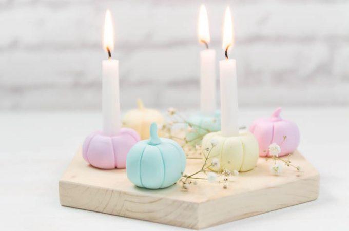 Kürbis-Kerzenständer aus Fimo basteln - Herbstdeko