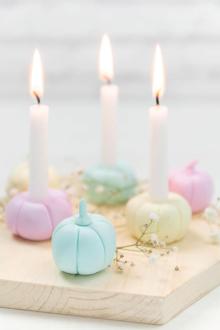 Kürbis Deko für den Herbst - Kerzenständer aus Fimo selber machen