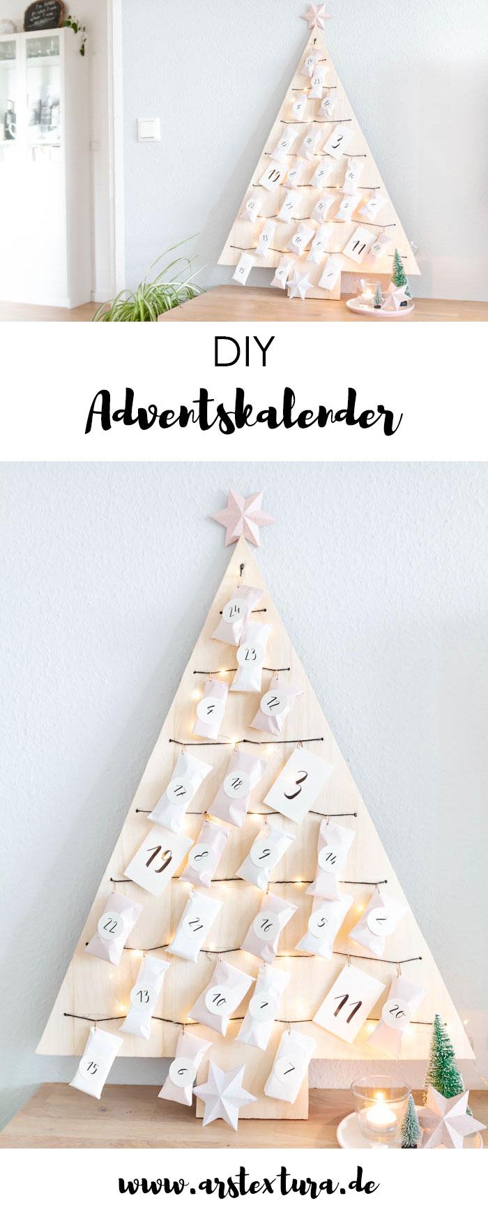 Adventskalender basteln - Weihnachtsbaum Adventskalender aus Holz