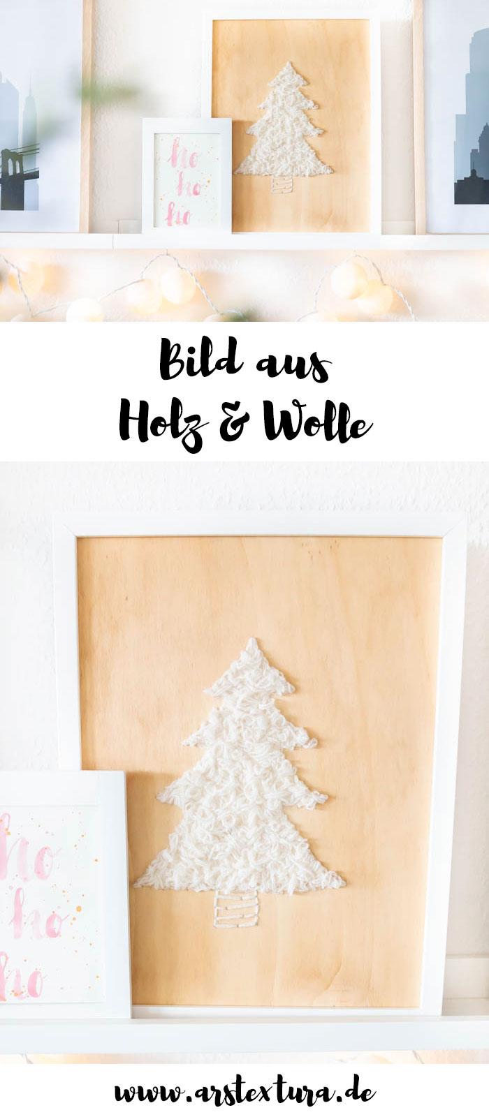 Weihnachtsdeko: Tannenbaum auf Holz sticken