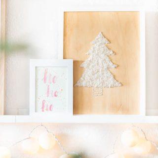 Weihnachtsdeko: Holz mit Tannenbaum besticken