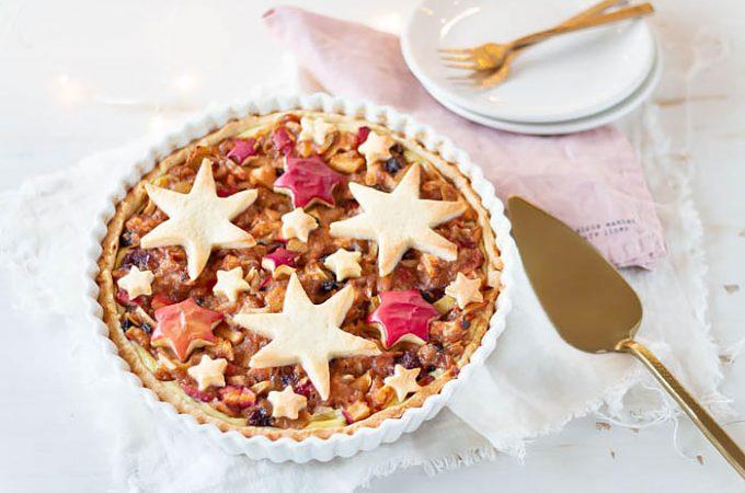 Weihnachtliche Bratapfel Tarte mit Sternen