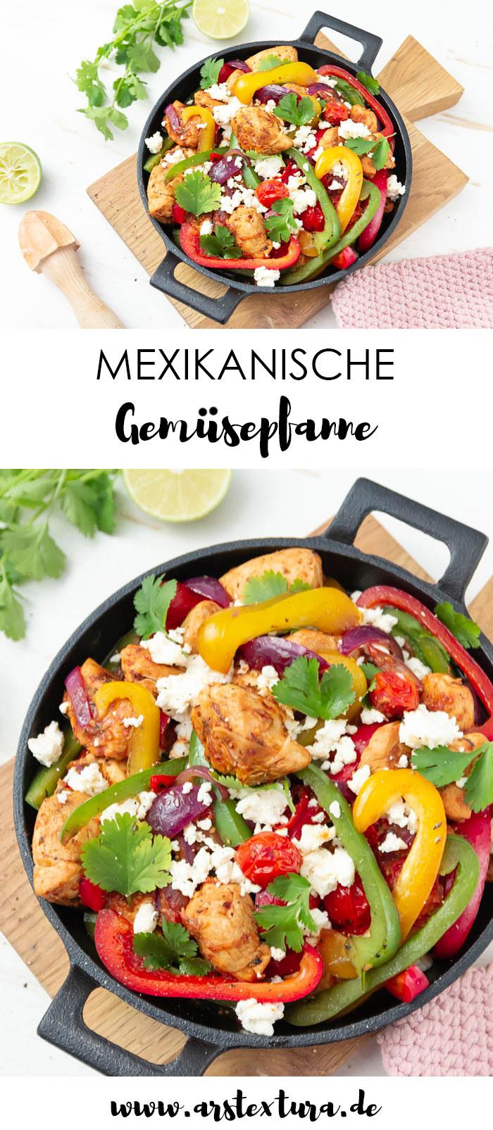 Mexikanische Gemüsepfanne mit Paprika, Tomate, Feta und Hähnchen
