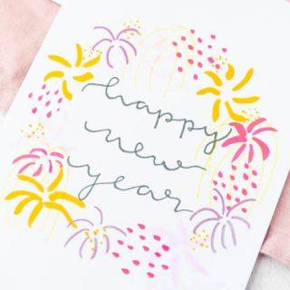 Neujahrskarten mit Handlettering & Feuerwerk
