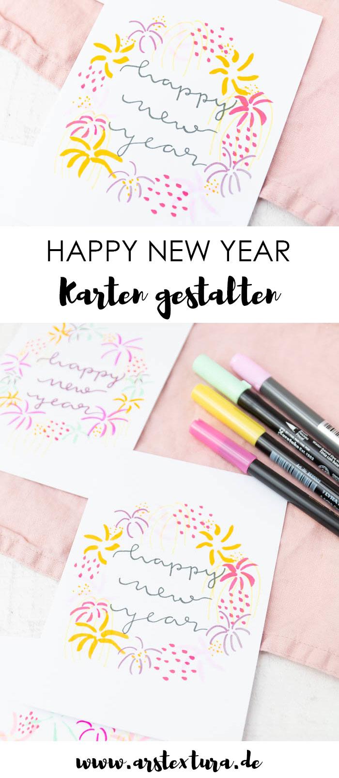 Neujahrskarten basteln mit Handlettering und Feuerwerk – happy new year card