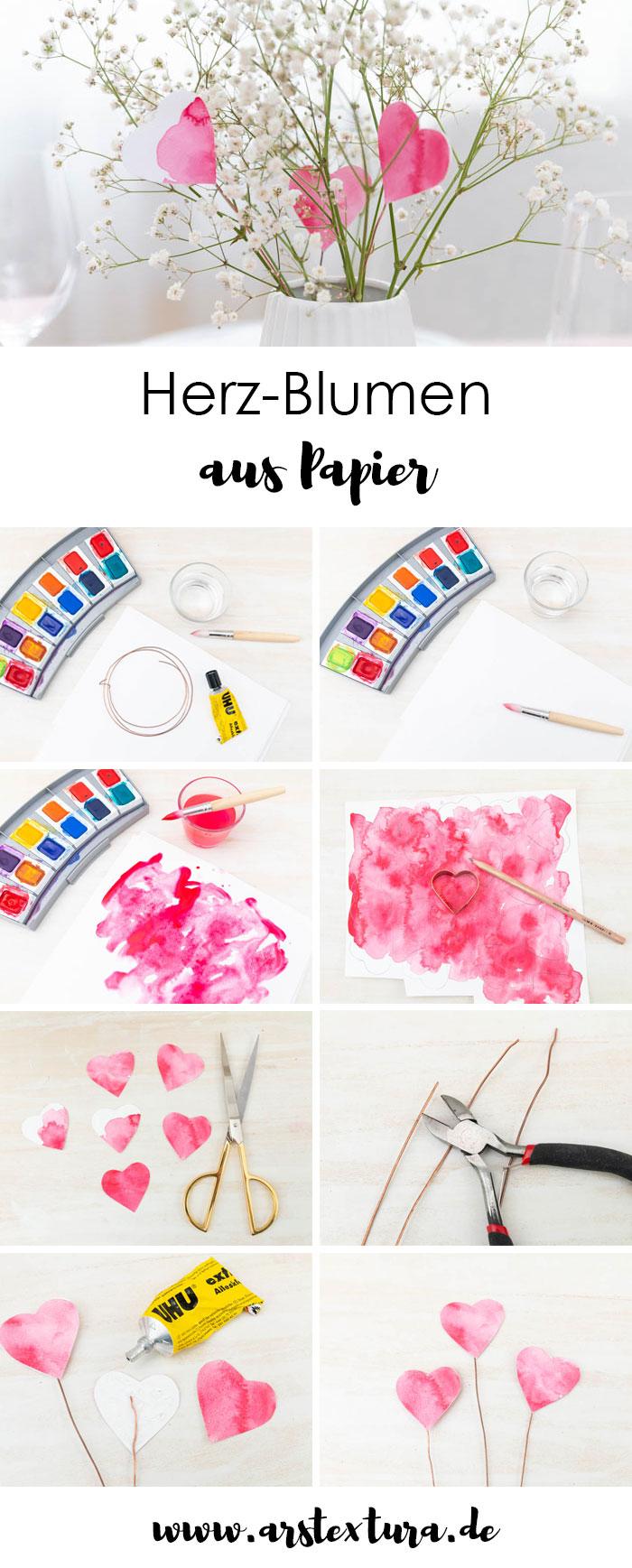 Valentinstag Deko: Herz-Blumen aus Papier basteln