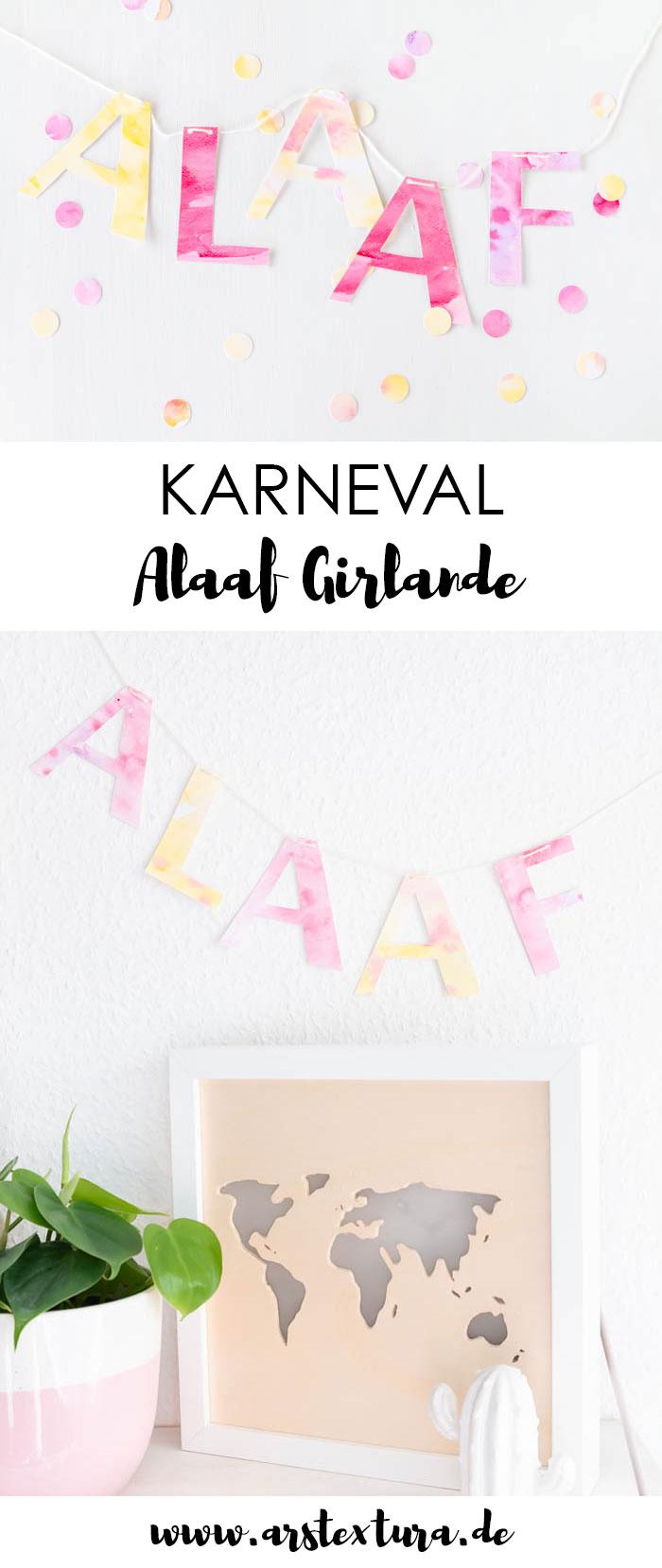 Alaaf Girlande basteln aus Papier - die perfekte Deko für Karneval