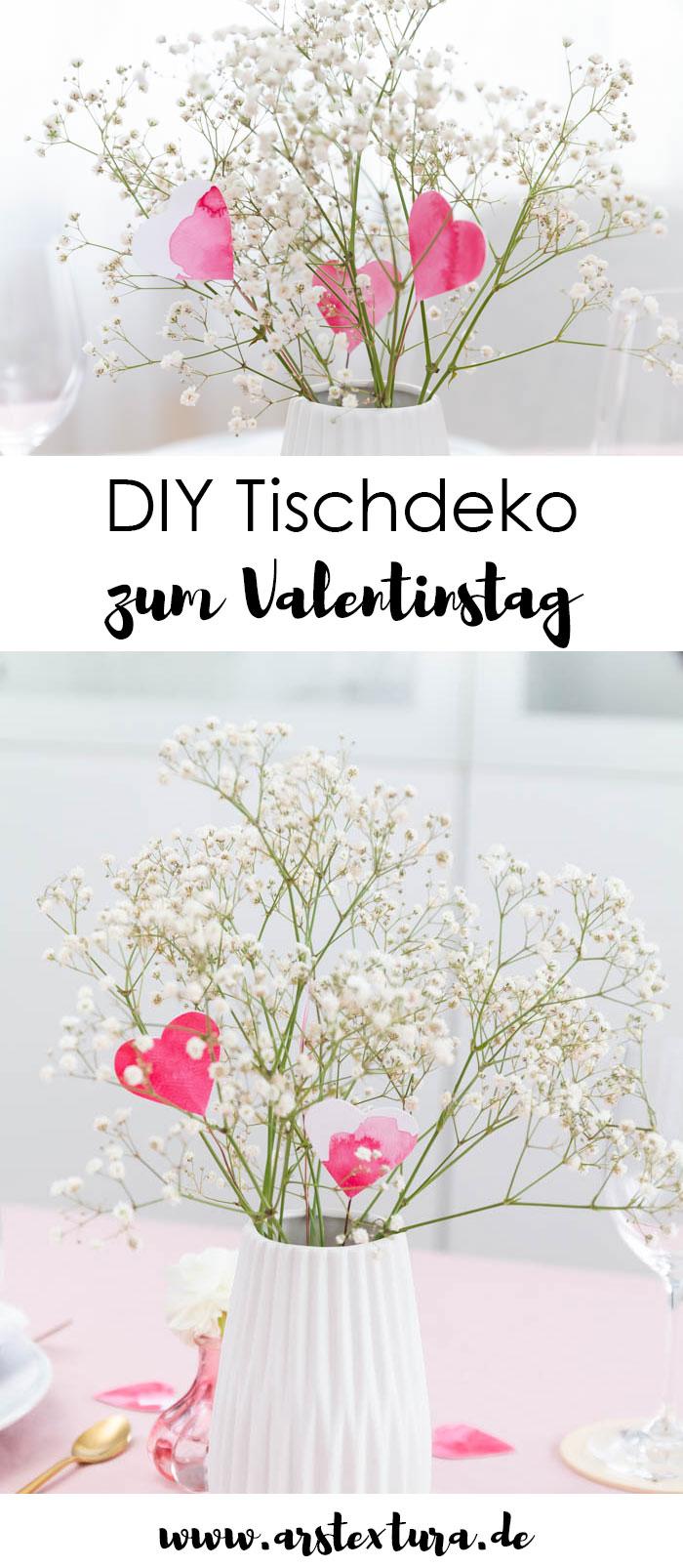 Valentinstag Deko: Herz Blumen basteln als Tischdeko
