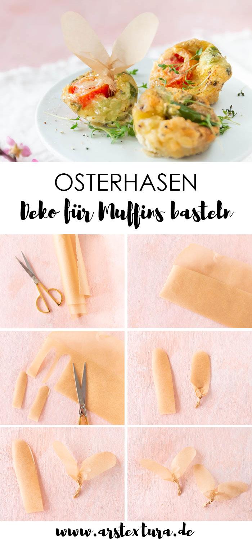 Ostern basteln: Osterhasen Ohren basteln als Deko für Muffins auf dem Osterbuffet