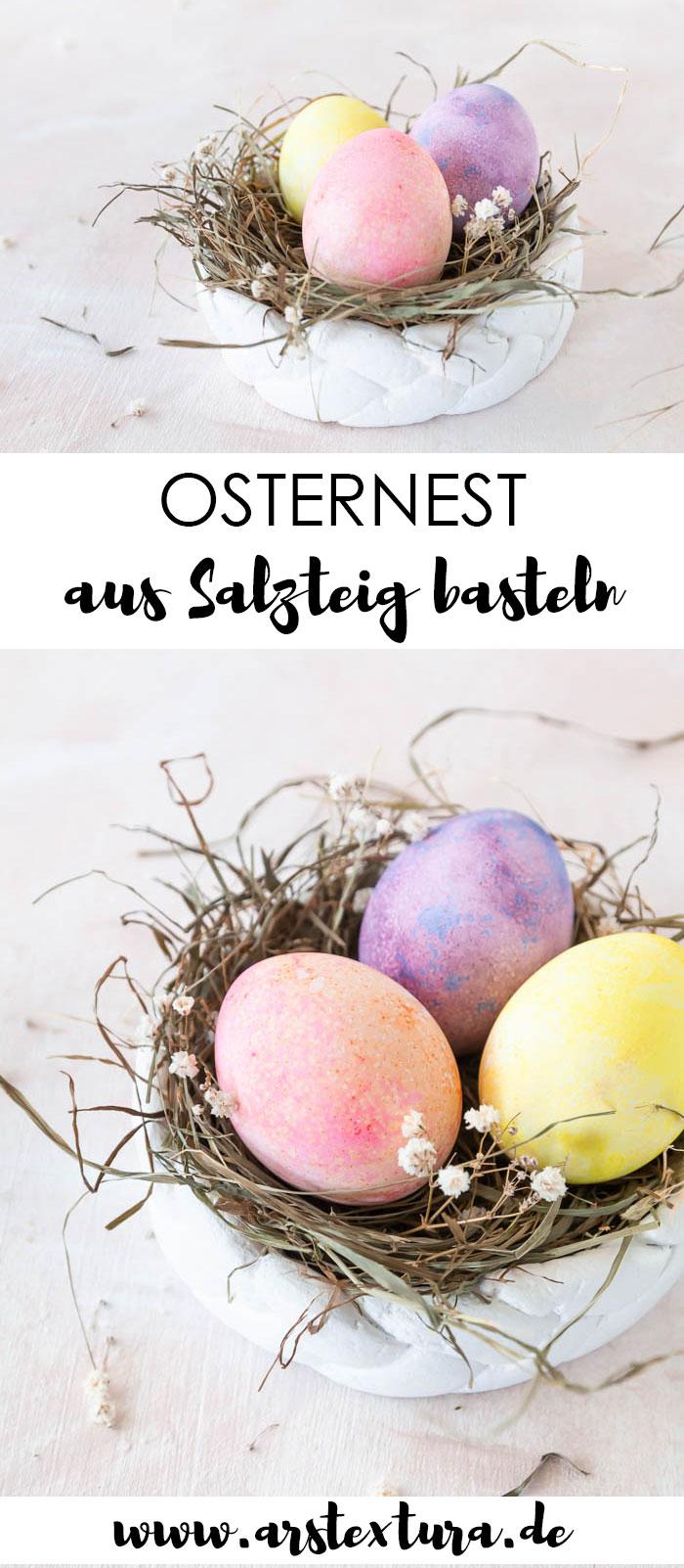 Osternest basteln aus Salzteig - Dekoidee zu Ostern