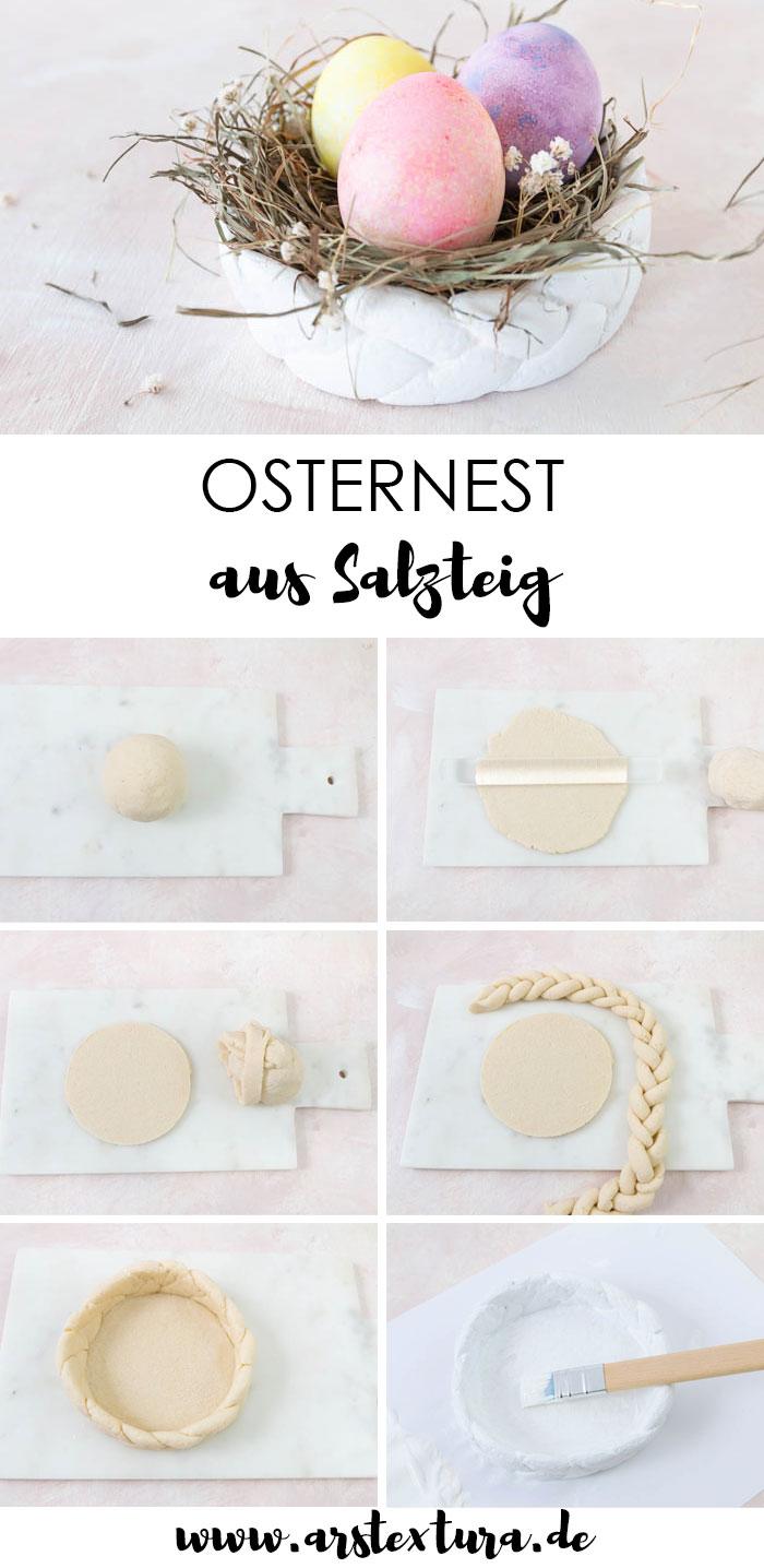 Osternest basteln aus Salzteig - Deko für Ostern