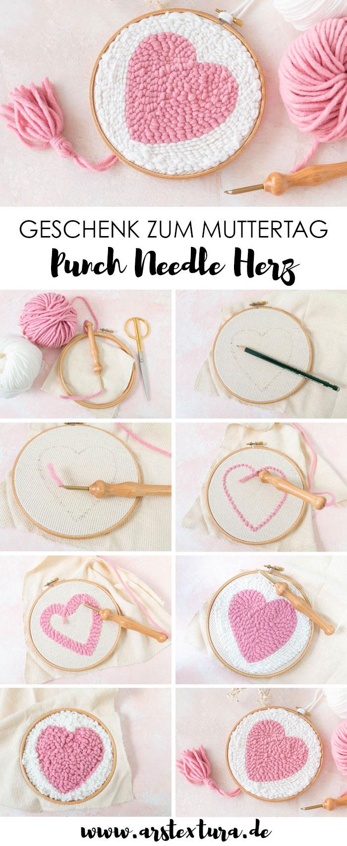 Herz mit der Punchneedle sticken - DIY Geschenk zum Muttertag - Sticken lernen mit Stickrahmen und Punchneedle #muttertag #punchneedle
