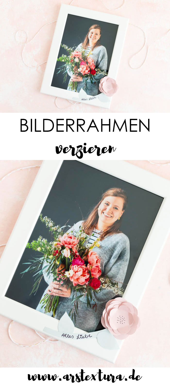 Bilderrahmen mit Blumen verzieren - DIY Geschenk zum Muttertag