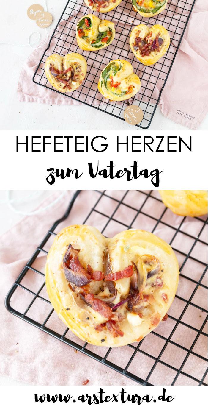 Rezept Vatertag: Herzhafte Hefeteig Herzen mit Flammkuchen Belag und Veggie Belag #vatertag #hefeteig