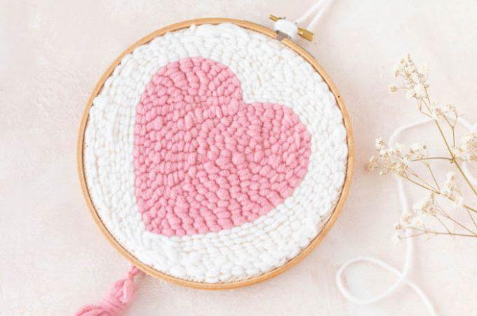 Herz zum Muttertag mit der Punch Needle sticken