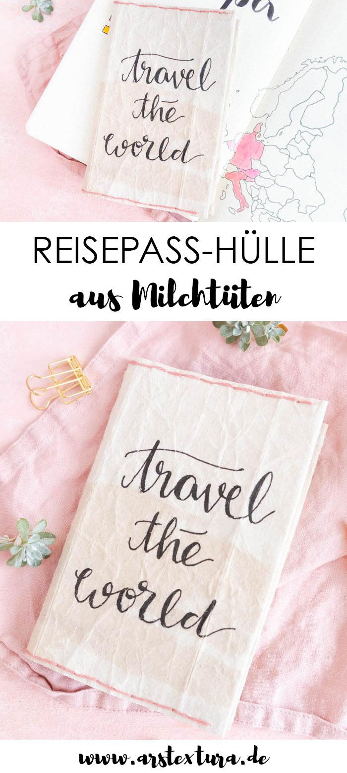 Reisepass Hülle aus Milchtüten basteln