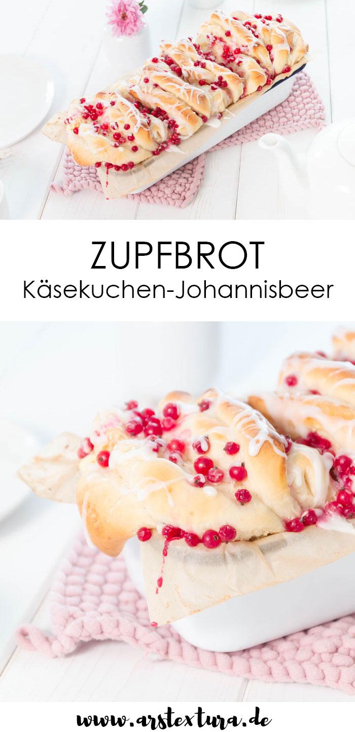Süßes Zupfbrot mit Johannisbeeren und Käsekuchen #zupfbrot #faltenbrot