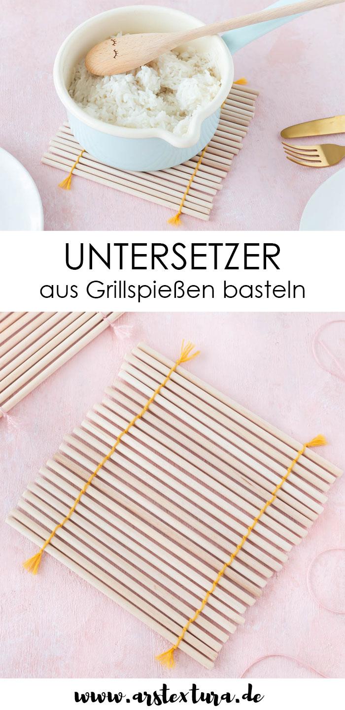 Untersetzer aus Grillspießen basteln - Upcycling Idee