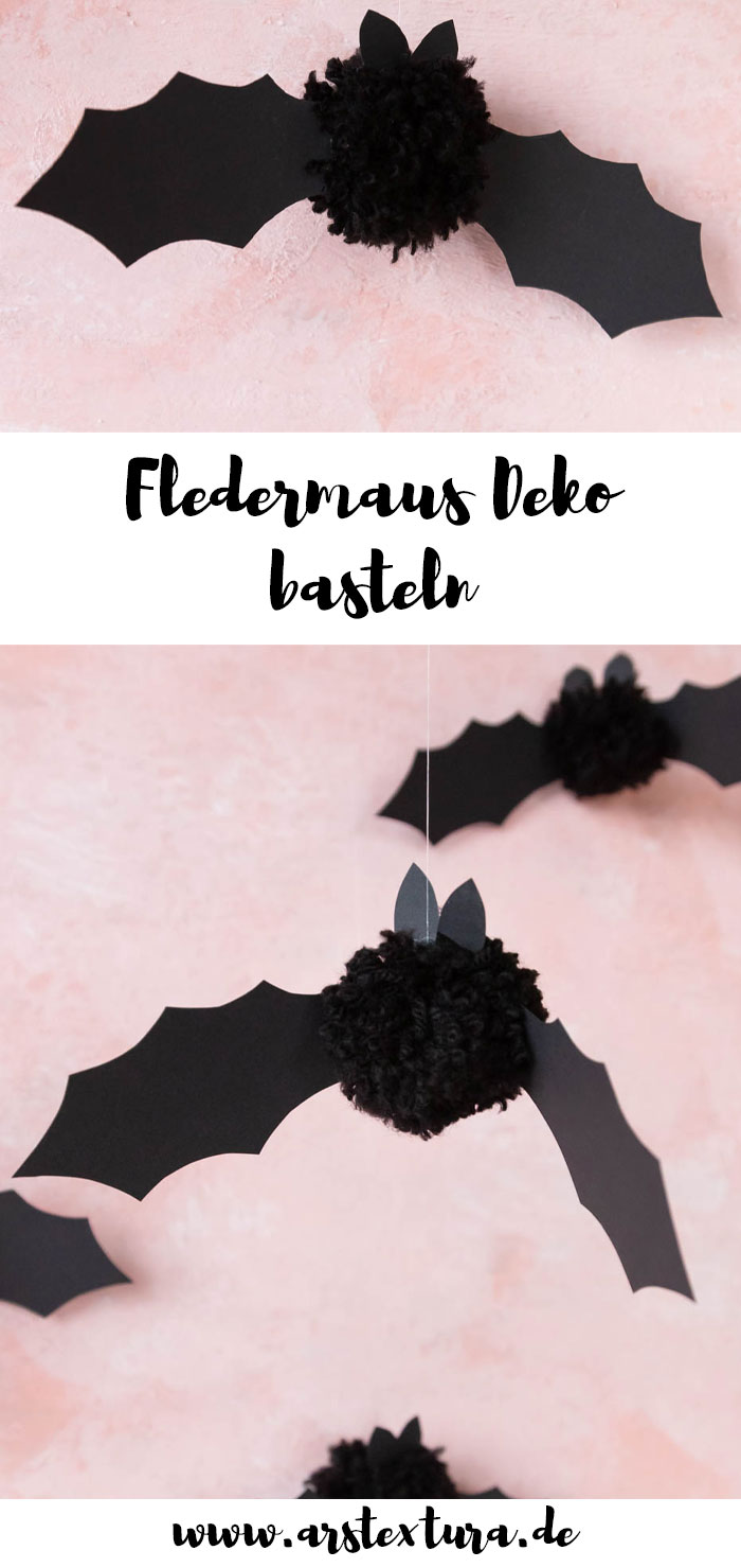Fledermaus aus Pompons basteln für Halloween