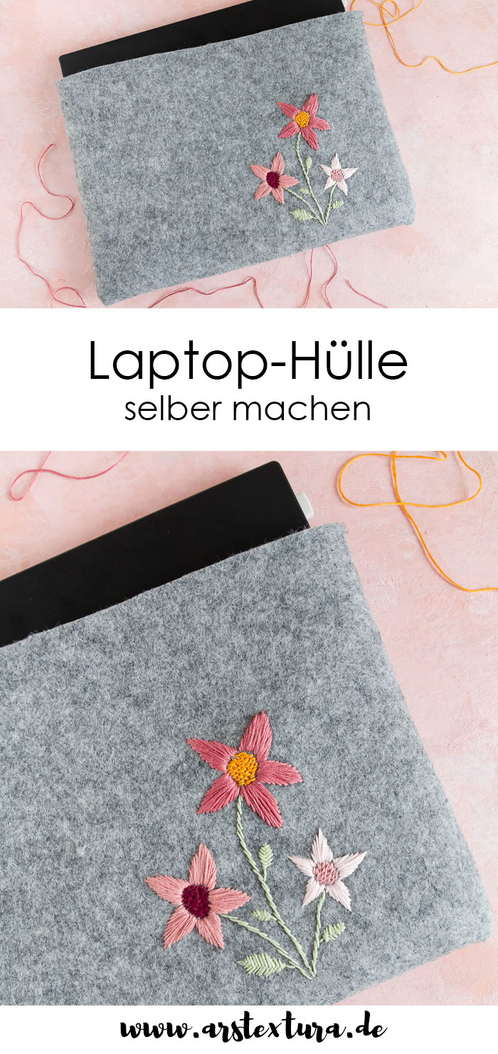 Laptop Hülle selber machen - nähen & besticken