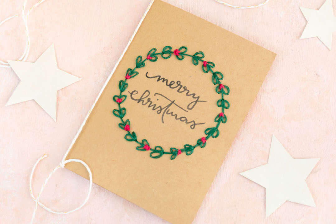 Weihnachtskarten basteln und besticken