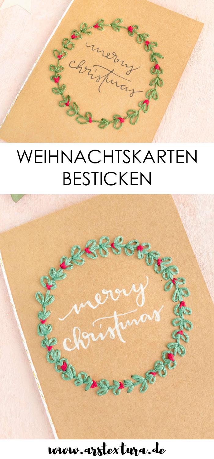 Weihnachtskarten sticken und Handlettering