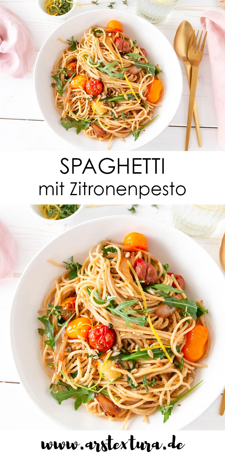 Sommerliche Spaghetti mit Zitronenpesto