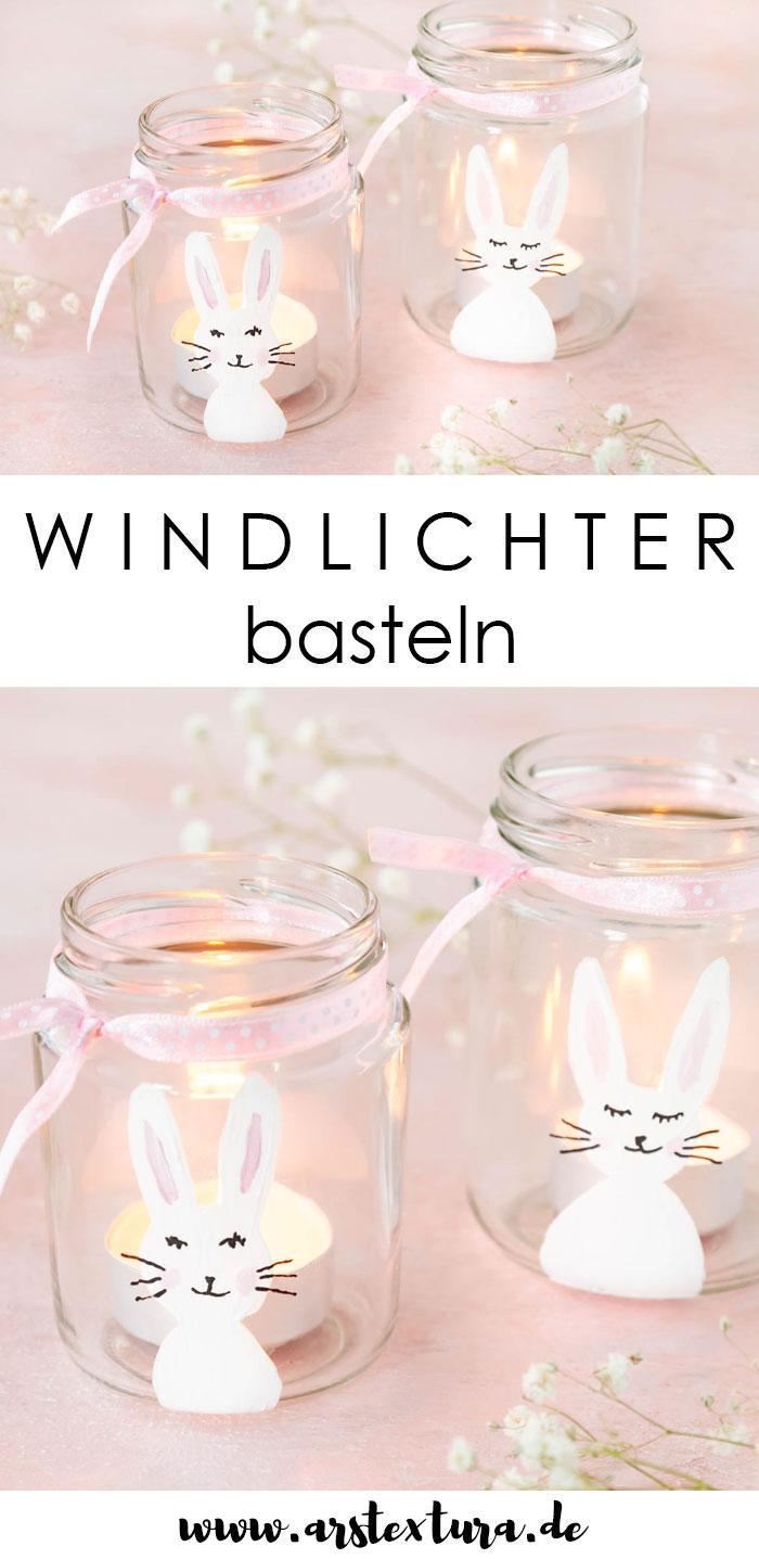 Windlichter basteln mit Hasen für Ostern