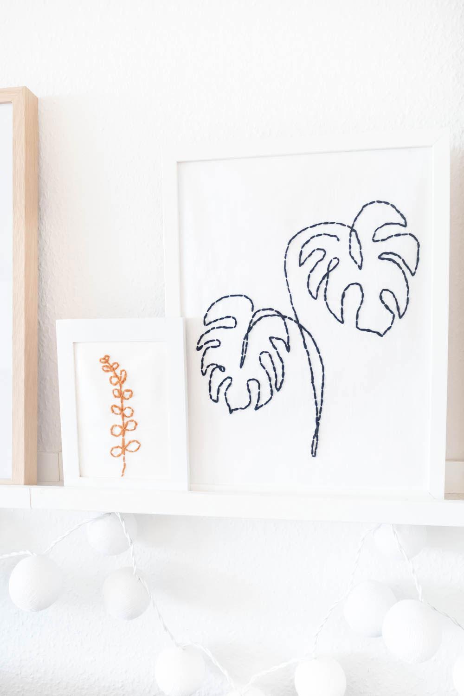 Line Art Bilder mit Pflanzen sticken - Anleitung