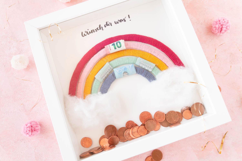 Regenbogen Geldgeschenk basteln