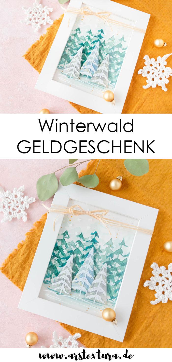 Geldgeschenk basteln Winterwald